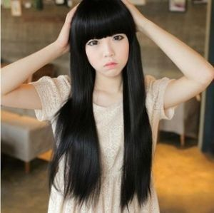 Черный косплей парик с прямой челкой