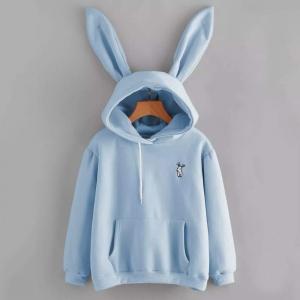 Толстовка с кроличьими ушками голубая