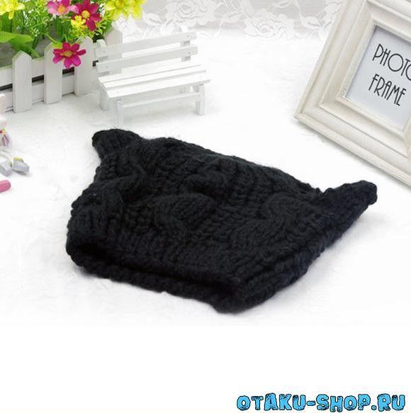 Купить Вязаная шапка с ушками (черная) в аниме магазине с ...