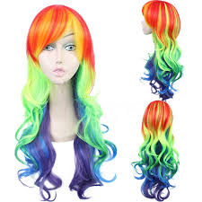 Радужный парик для косплея