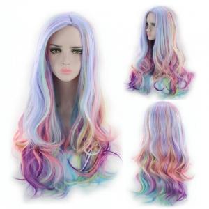 Пастельный разноцветный парик