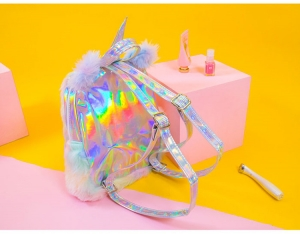 Пушистый рюкзак Unicorn Hologram