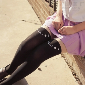 Колготки-чулки с мордашкой чёрные