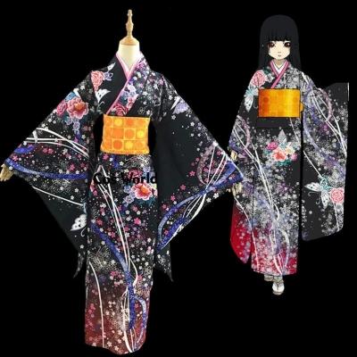 Юката Энмы Аи цветочный принт Jigoku Shoujo