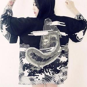 Кимоно-рубашка Дракон чёрная