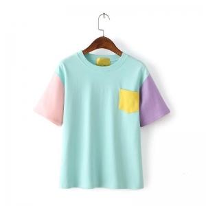 Кавайная цветная футболка голубая