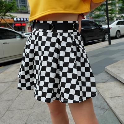 Клетчатая юбка чёрно-белая