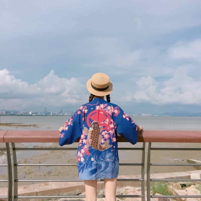 Рубашка в японском стиле Кои синяя
