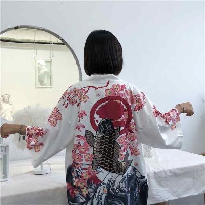 Рубашка в японском стиле Кои белая