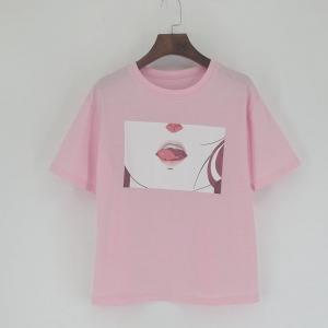 Футболка Anime Lips розовая