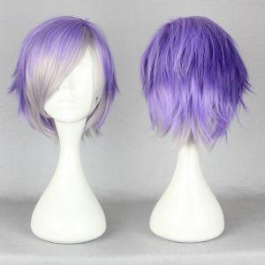 Короткий фиолетовый парик с челкой