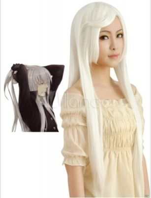 Длинный белый парик с прической Скуало Супербия  из «Учителя-мафиози Реборн!»