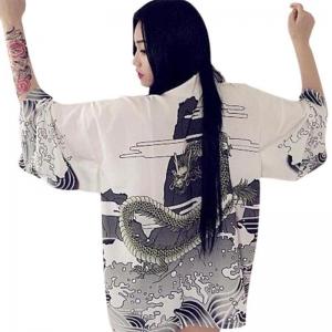 Кимоно-рубашка Дракон белая