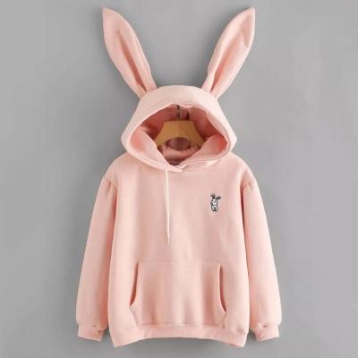 Толстовка с кроличьими ушками розовая