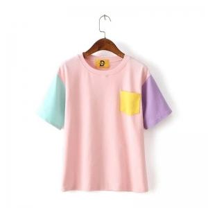 Кавайная цветная футболка розовая